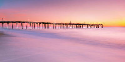 Photograph - Avon Fishing Pier At Outer Banks Sunrise Panorama by Ranjay Mitra