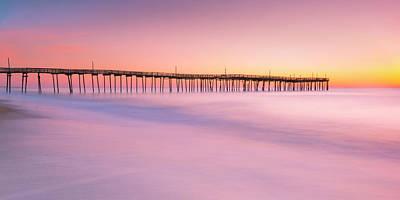 Photograph - Avon Fishing Pier At Outer Banks Sunrise Panorama by Ranjay Mitra