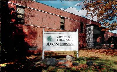 Digital Art - Avon High School Blg by Joe Paradis