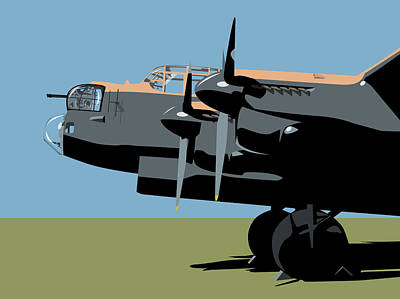 Blues Digital Art - Avro Lancaster Bomber by Michael Tompsett