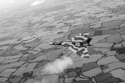 Photograph - Avro Vulcan Over Essex Black And White Version by Gary Eason