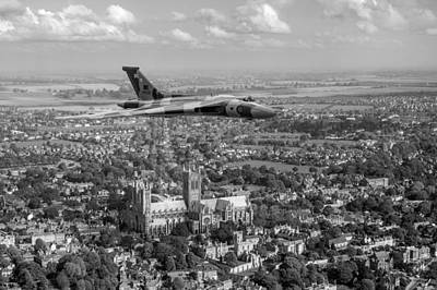 Photograph - Avro Vulcan Passing Lincoln Cathedral Black And White by Gary Eason