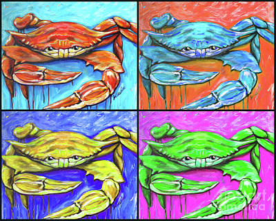 Painting - Aw-cym Steamed Crab by JoAnn Wheeler