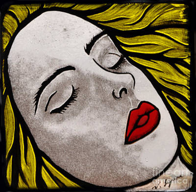Fused Glass Painting - Awaiting A Kiss by Valerie Lynn