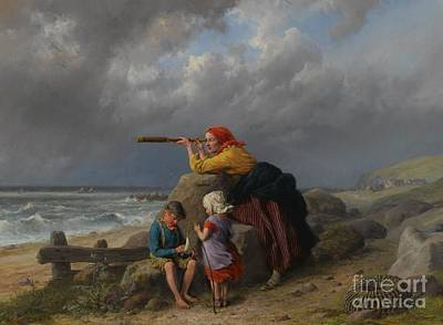 Painting - Awaiting The Return Of Fishing Boats by William Bromley