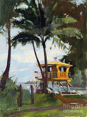 Wall Art - Painting - Awaiting The Sun, Fleming Beach by Patrick Saunders