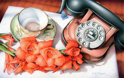 Still Life Drawings - Awaiting Your Call by Amy S Turner