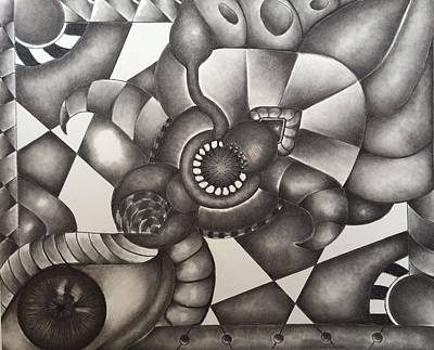 Abstract Shapes Drawing - Awakening by Laurie Cairone