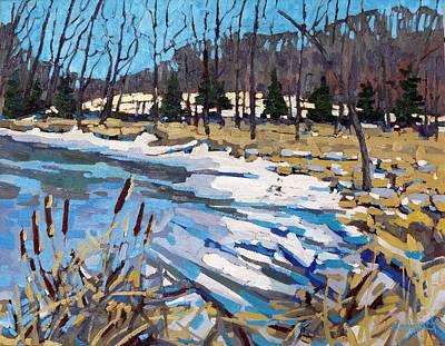 Snow Melt Painting - Awakening Wetland by Phil Chadwick
