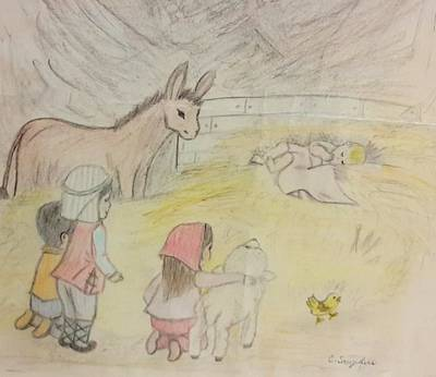 Drawing - Away In A Manger With Child Shepherds by Christy Saunders Church