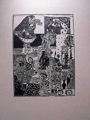 Lino-cut Drawing - Awekening by Eva Darmo