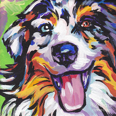 Puppies Painting - Awesome Aussie by Lea S