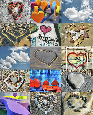 Photograph - Awesome Hearts - Collage by Daliana Pacuraru