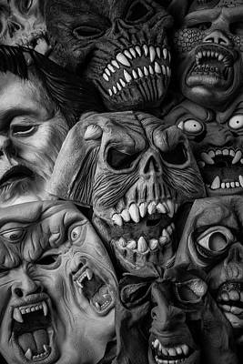 Spooks Photograph - Awesome Old Halloween Masks by Garry Gay
