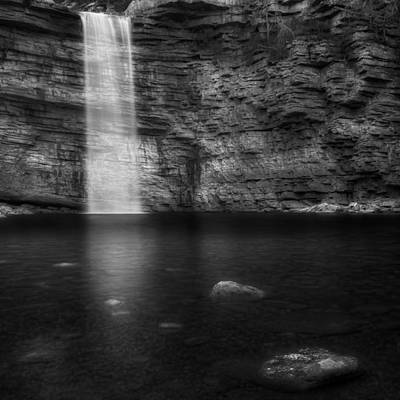 Awosting Falls Square Black And White Print by Bill Wakeley