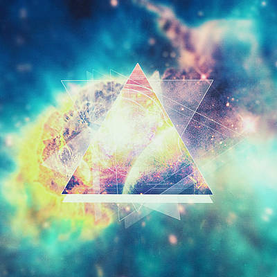 Signed Digital Art - Awsome Collosal Deep Space Triangle Art Sign by Philipp Rietz