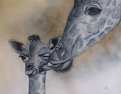 Baby And Mother Giraffe Art Print