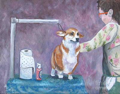 Painting - Awwww    Poor Me    Grooming Time by Ann Becker
