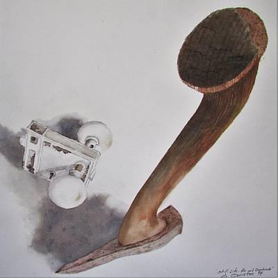 Painting - Axe And Doorknob by Tony Caviston