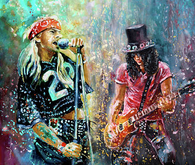 Painting - Axl Rose And Slash by Miki De Goodaboom