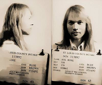 Music Mixed Media - Axl Rose Mugshot by Dan Sproul