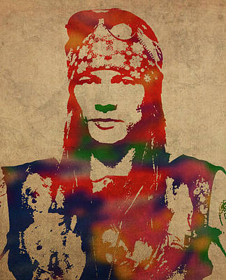 Axl Rose Mixed Media - Axl Rose Watercolor Portrait Acdc by Design Turnpike