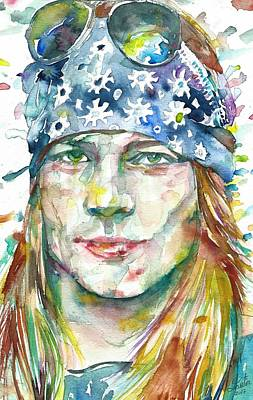 Painting - Axl Rose - Watercolor Portrait by Fabrizio Cassetta