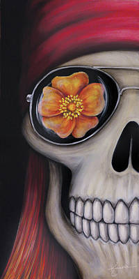 Rose And Skull Painting - Axl - Skull With Sunglasses by Kathy Jackson