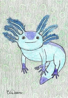 Salamanders Drawing - Axolotl by Brittany Dorris