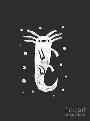 Salamanders Digital Art - Axolotl Cute by Vaher Fari