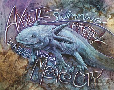 Newts Painting - Axolotl by Leah Jay