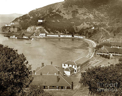 Photograph -  Ayala Cove Aka Hospital Cove With Dorms Angel Island Circa 1890 by California Views Archives Mr Pat Hathaway Archives