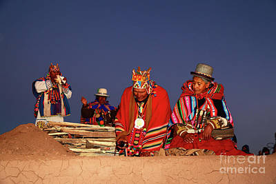 Poncho Photograph - Aymara New Year Ceremonies Bolivia by James Brunker