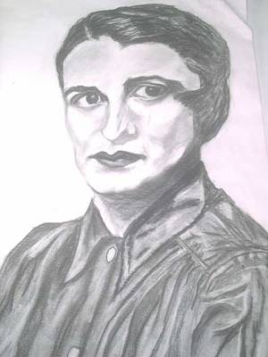 Ayn Rand Wall Art - Painting - Ayn Rand by Nancy Caccioppo