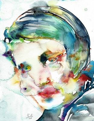 Ayn Rand Wall Art - Painting - Ayn Rand - Watercolor Portrait.2 by Fabrizio Cassetta