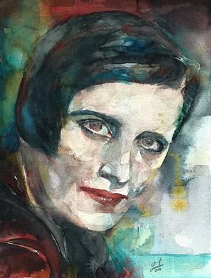 Ayn Rand Wall Art - Painting - Ayn Rand - Watercolor Portrait.3 by Fabrizio Cassetta