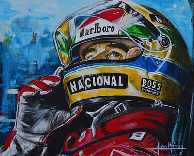 Motogp Painting - Ayrton, El Mito by Juan Mendez