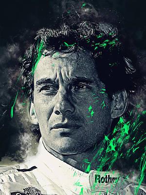 Formula One Digital Art - Ayrton Senna by Afterdarkness