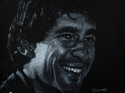Formula One Drawing - Ayrton Senna by David Whitaker
