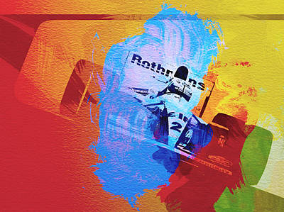 Racing Car Digital Art - Ayrton Senna by Naxart Studio