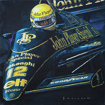 Lotus Wall Art - Painting - Ayrton Senna Lotus 98t1986 01 by Yuriy Shevchuk