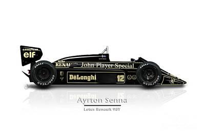 Racecar Drawing - Ayrton Senna - Lotus Renault 98t by Jeremy Owen