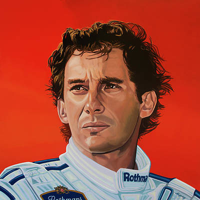Ayrton Senna Portrait Painting Art Print by Paul Meijering