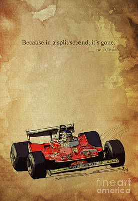 Ayrton Senna Quote, Ferrari F1 Race Car, Red Ferrari Racing Art Print