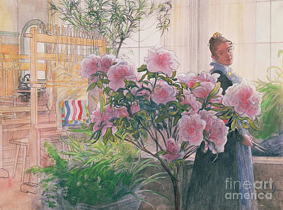 Weaving Painting - Azalea by Carl Larsson