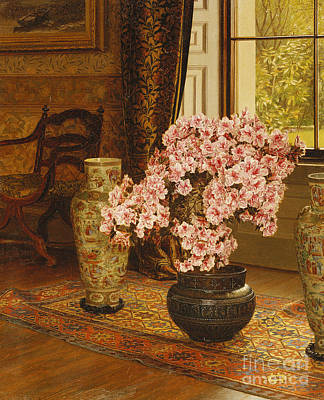 Persian Carpet Painting - Azalea In A Japanese Bowl, With Chinese Vases On An Oriental Rug by Jessica Hayllar