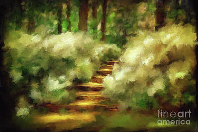Sunlight On Flowers Photograph - Azalea Stairs by Lois Bryan