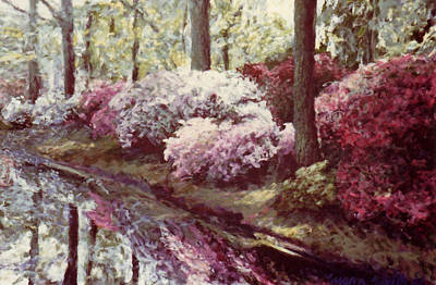 Painting - Azaleas By The Lake by Suzn Art Memorial