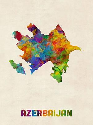 Digital Art - Azerbaijan Watercolor Map by Michael Tompsett