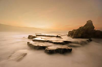 Azkorri Beach At Sunset Art Print by Mikel Martinez de Osaba